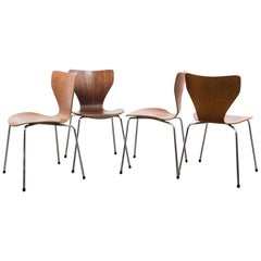 1970s Danish Modern Plywood Chairs, Set of Four