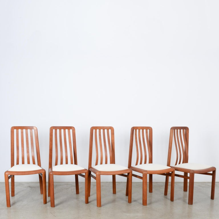 1970s Danish Modern Teak Dining Chairs, Set of Five In Good Condition For Sale In High Point, NC