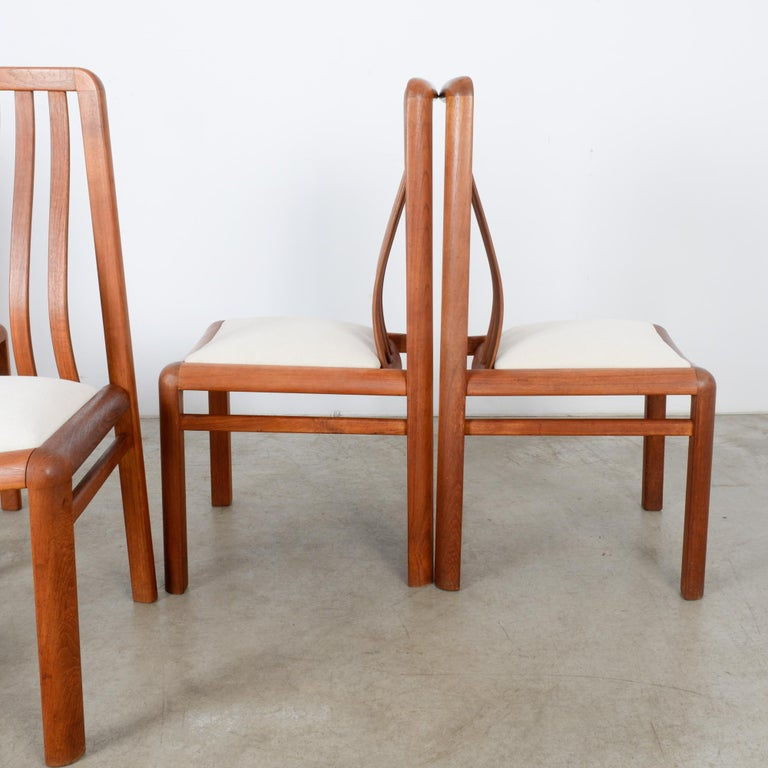 Fabric 1970s Danish Modern Teak Dining Chairs, Set of Five For Sale