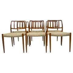 1970s Danish Moller Model 83 Teak Dining Chairs Set of Six