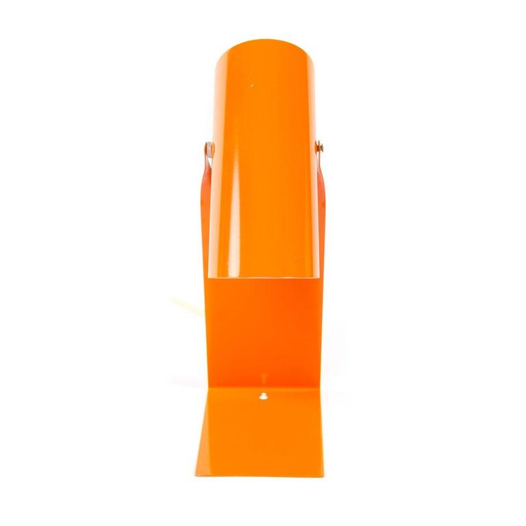 Scandinavian Modern 1970s Danish Orange Folded Metal Desk Lamp For Sale