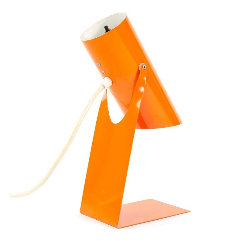1970s Danish Orange Folded Metal Desk Lamp In Good Condition For Sale In Sagaponack, NY