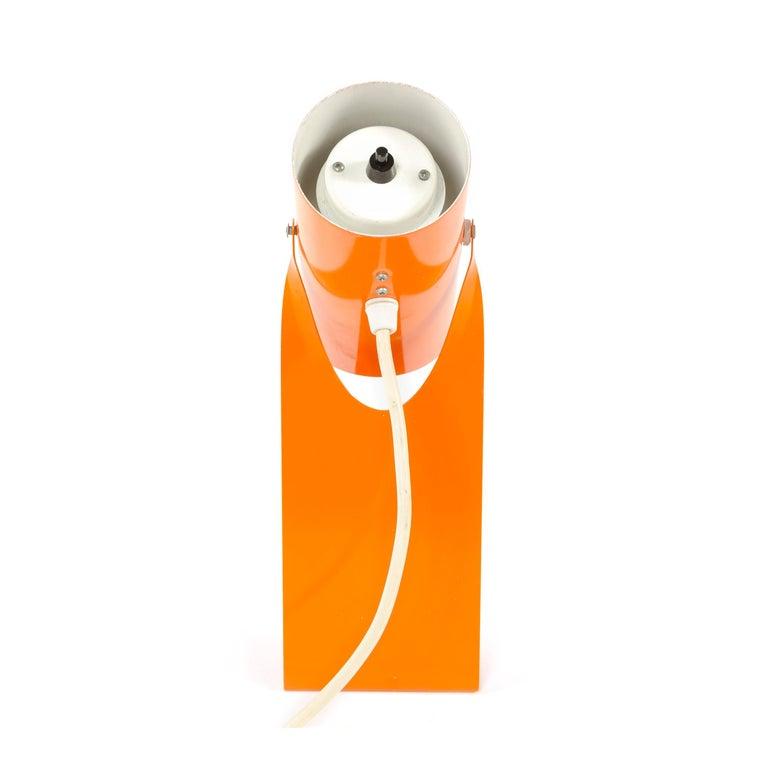 Late 20th Century 1970s Danish Orange Folded Metal Desk Lamp For Sale