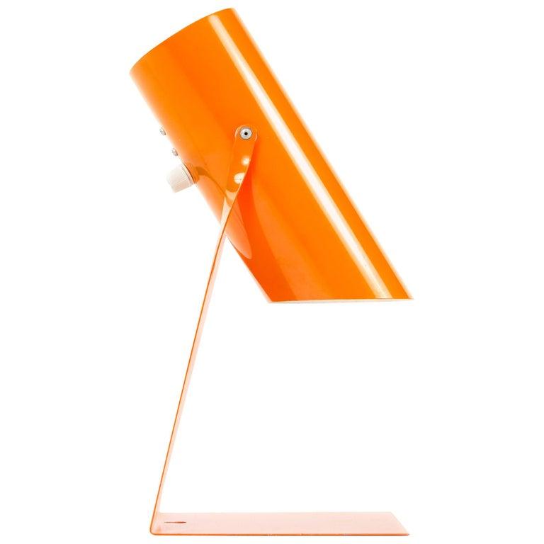 1970s Danish Orange Folded Metal Desk Lamp For Sale