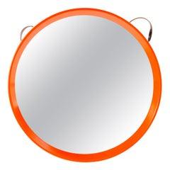 1970s Danish Round Leather Strap Mirror