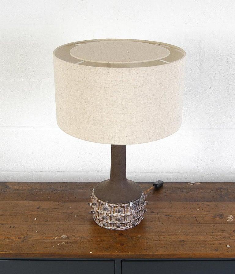 Rustic 1970s Danish Stoneware Table Lamp Designed by Jette Helleroe for Axella Design For Sale