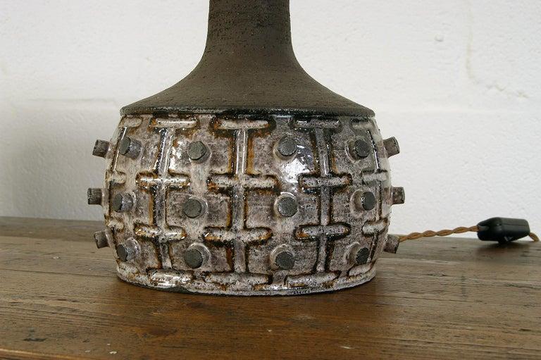 Linen 1970s Danish Stoneware Table Lamp Designed by Jette Helleroe for Axella Design For Sale