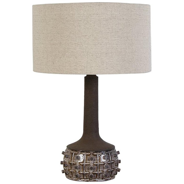 1970s Danish Stoneware Table Lamp Designed by Jette Helleroe for Axella Design For Sale
