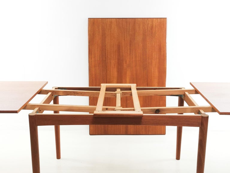 Mid-Century Modern 1970s Danish Teak Extending Dining Table by Clausen & Son Midcentury For Sale