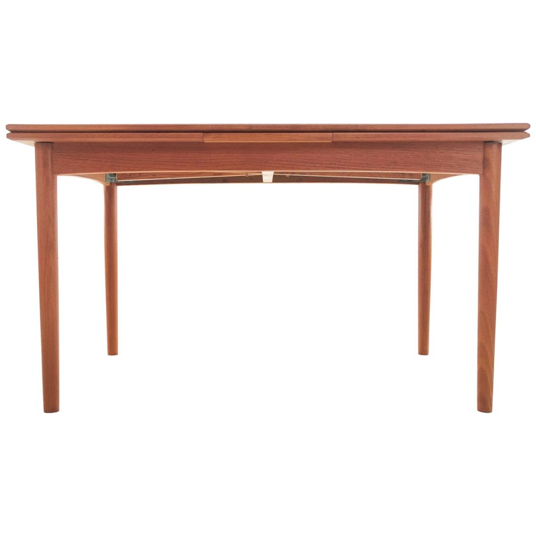 1970s Danish Teak Extending Dining Table by Clausen & Son Midcentury For Sale