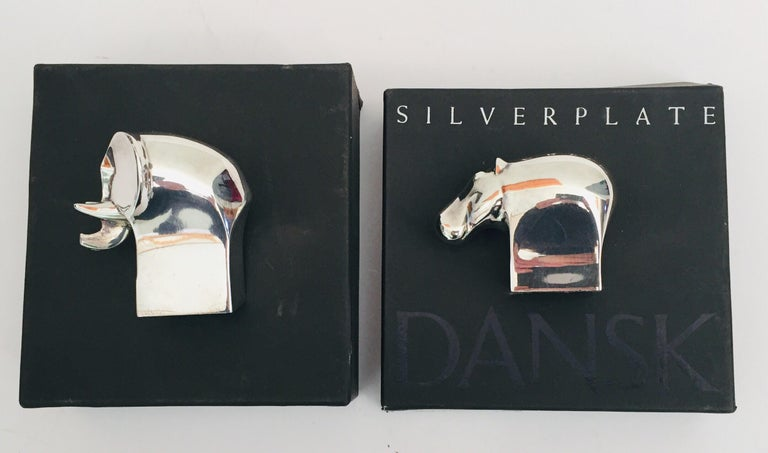 1970s Dansk Animals Paperweights Silver Plated by Gunnar Cyren For Sale 8