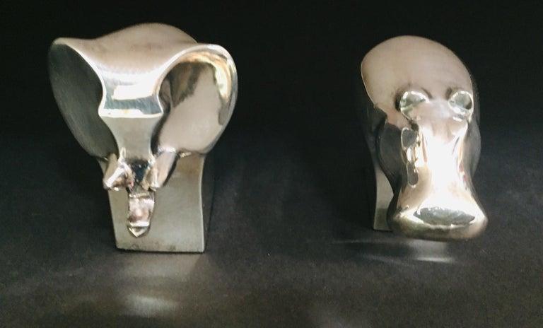 Scandinavian Modern 1970s Dansk Animals Paperweights Silver Plated by Gunnar Cyren For Sale