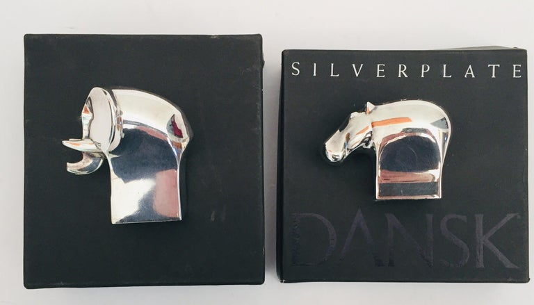 Japanese 1970s Dansk Animals Paperweights Silver Plated by Gunnar Cyren For Sale