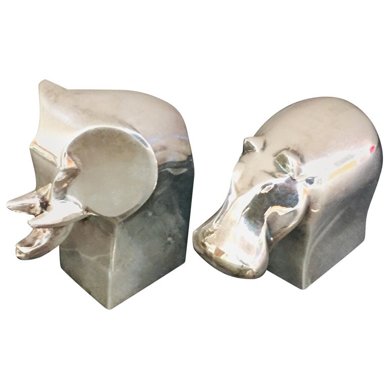 1970s Dansk Animals Paperweights Silver Plated by Gunnar Cyren For Sale