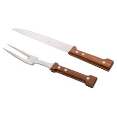 1970s Dansk Carving Set by Gunnar Cyren Cutlery Knife & Fork with Box, Denmark