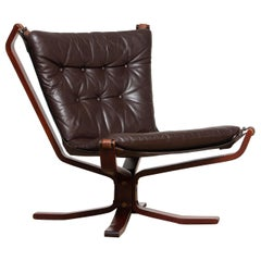 1970s, Dark Brown Leather 'Falcon' Easy / Lounge Chair by Sigurd Resell