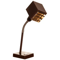 """1970s, Dark Brown Metal, Desk Lamp """"the Cube"""" by Hans-Anne Jakobsson for Elidus"""