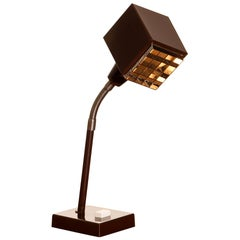 "1970s, Dark Brown Metal, Desk Lamp ""the Cube"" by Hans-Anne Jakobsson for Elidus"