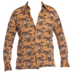 1970S Dark Grey & Beige Polyester Jersey Men's Lazy Lion King Sexy Disco Shirt