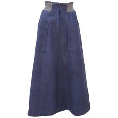 1970's David Silverman Blue Jeans Denim Maxi Skirt