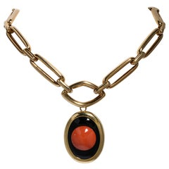 1970s David Webb 18K Choker Chain Necklace with Removable Coral Pendant and Pin