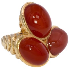 1970s David Webb Carnelian Trio Gold Cocktail Ring