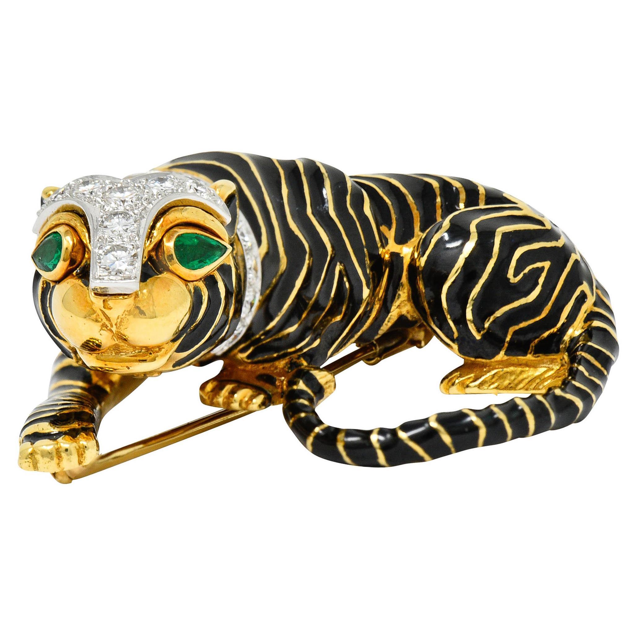 1970's David Webb Diamond Emerald 18 Karat Gold Kingdom Tiger Brooch