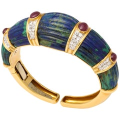 1970s David Webb Gold Diamond Ruby Carved Azurite Malachite Bracelet