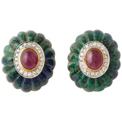 1970s David Webb Gold Diamond Ruby Carved Azurite Malachite Ear Clips