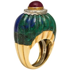 1970s David Webb Gold Diamond Ruby Carved Azurite Malachite Ring