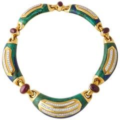 1970s David Webb Gold Ruby Diamond Carved Azurite Malachite Necklace