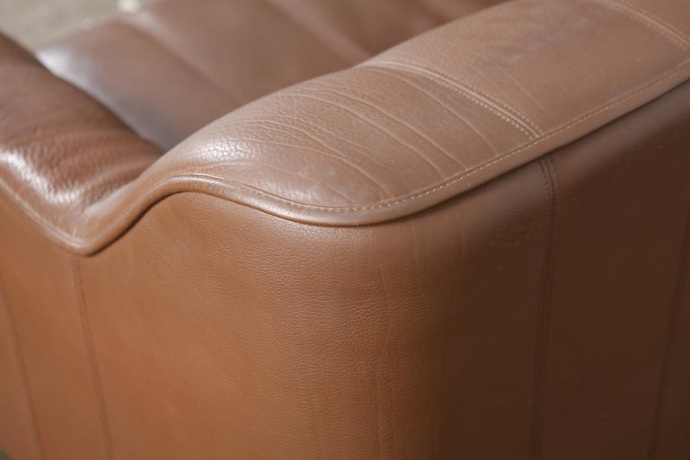 1970s De Sede Leather 3-Seat Sofa 'Model DS 44' from Switzerland For Sale 7