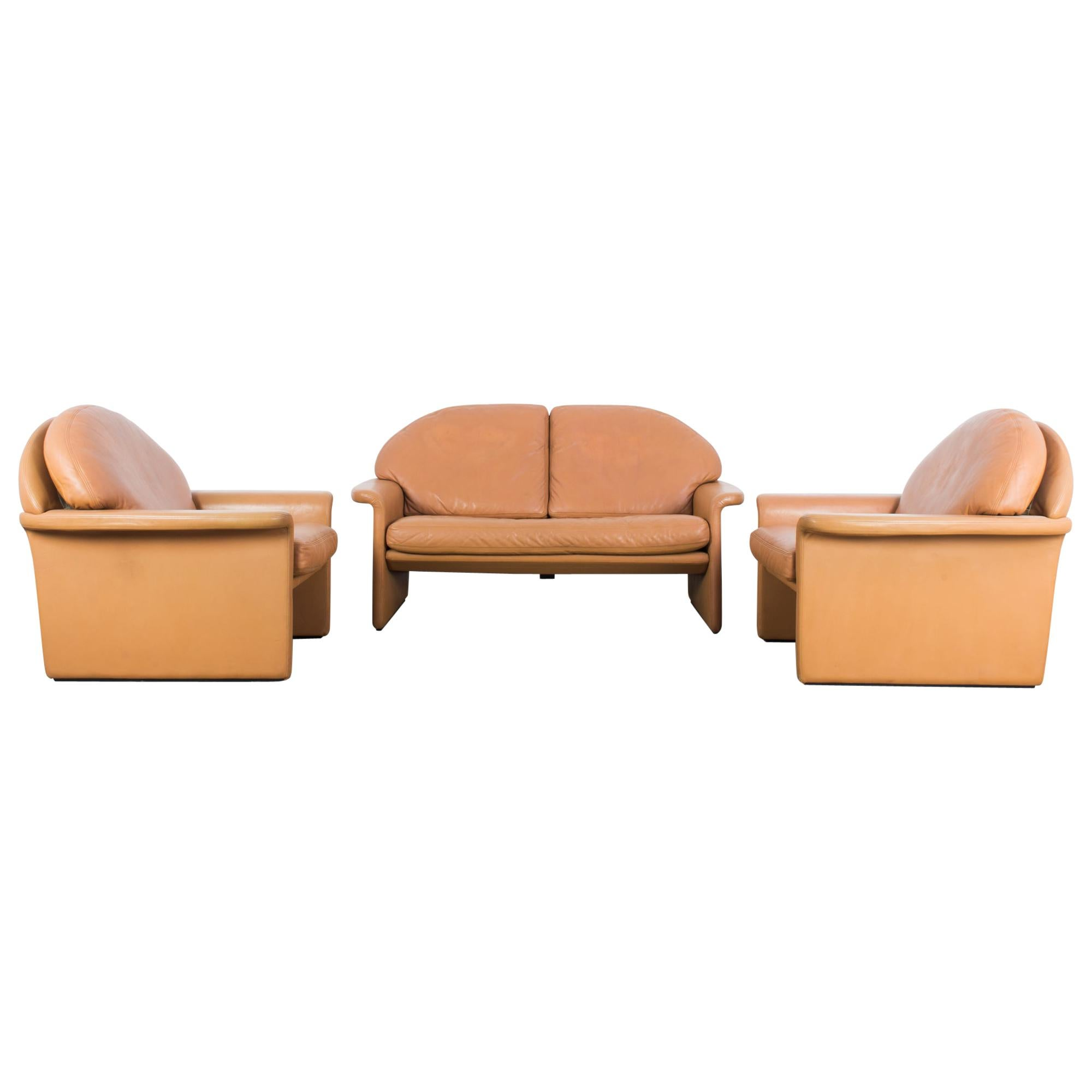 1970s De Sede Leather Sofa and Pair of Armchairs