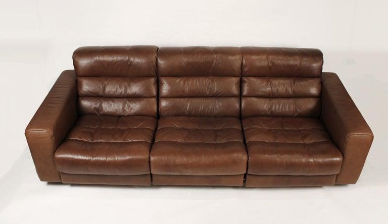 Mid-Century Modern 1970s De Sede Reclining Sofa in Buffalo Hide Leather For Sale