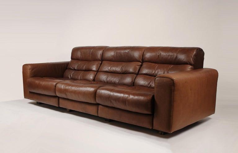 Swiss 1970s De Sede Reclining Sofa in Buffalo Hide Leather For Sale