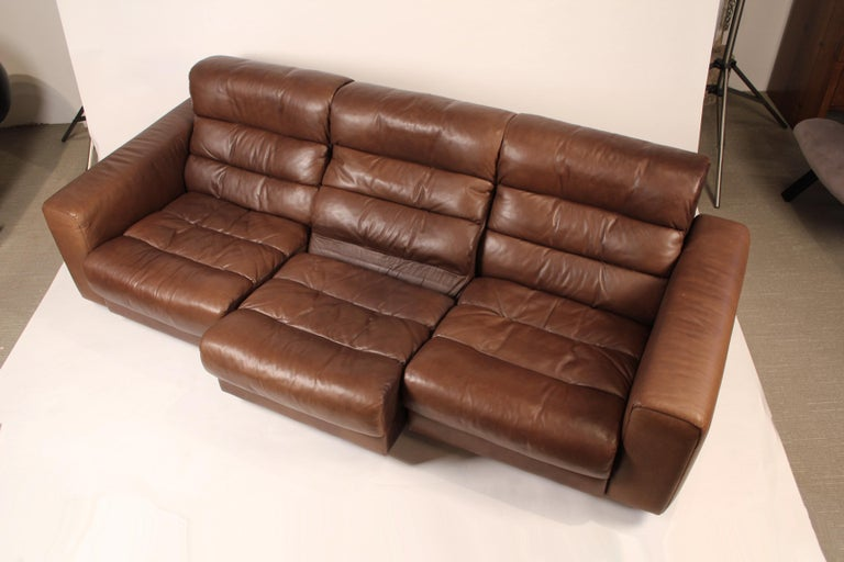 Patinated 1970s De Sede Reclining Sofa in Buffalo Hide Leather For Sale