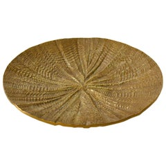 1970s Decorative Round Dish or Bowl Cast in Bronze with Strong Rippled Texture
