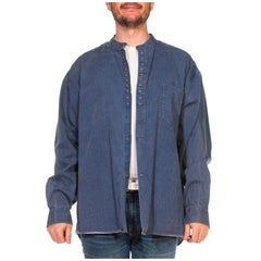 1970S Denim Blue & Black Striped Cotton Flannel Banded Collar Men's European Wo