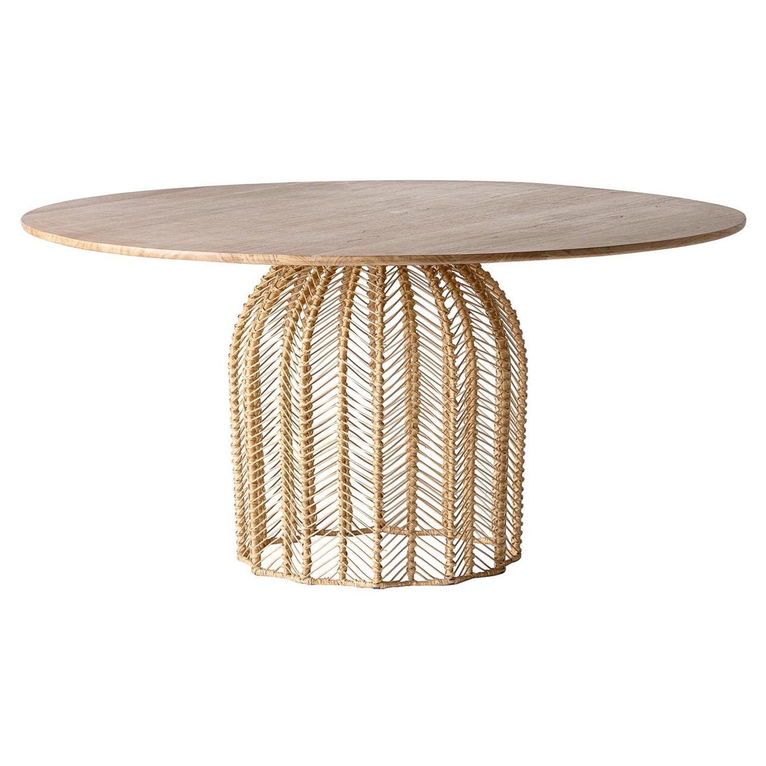 1970s Design Style Round Rattan Wicker Cane And Wooden Dining Pedestal Table