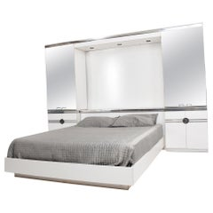 1970s French designer PIERRE CARDIN Mirrored Bedroom Set Ensemble White & Chrome