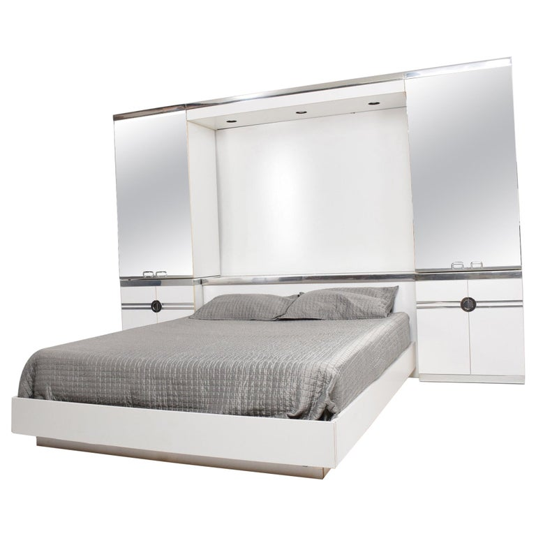 1970s French Designer Pierre Cardin Mirrored Bedroom Set Ensemble White And Chrome For Sale At 1stdibs