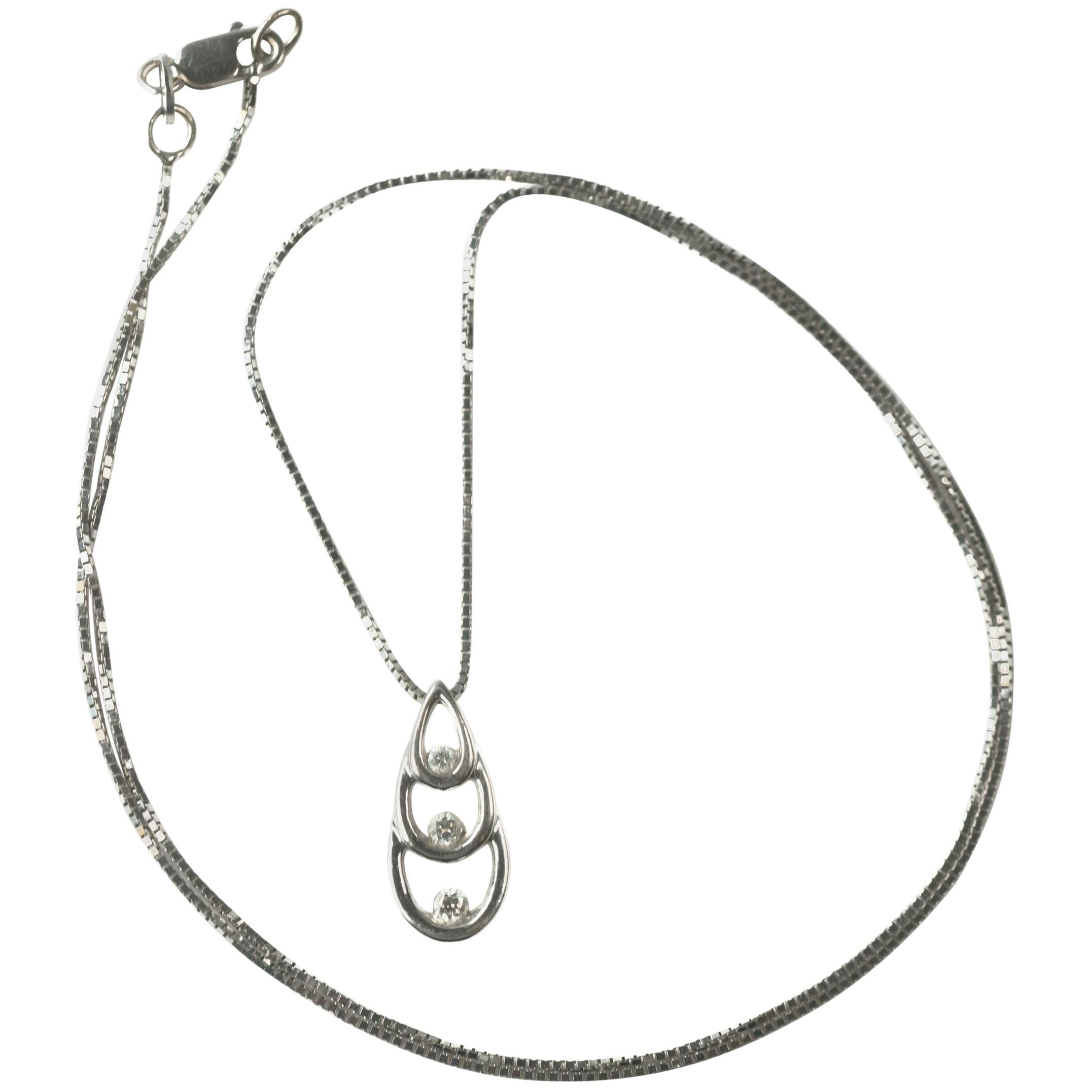 1970s Diamond 14 Karat White Gold Teardrop Pendant Necklace