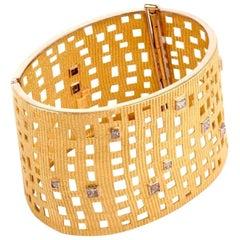 1970s Diamond 18 Karat Yellow Gold Wide Openwork Cuff Bracelet