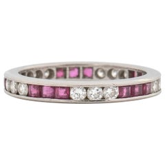 1970s Diamond and Ruby Ring Band in Platinum