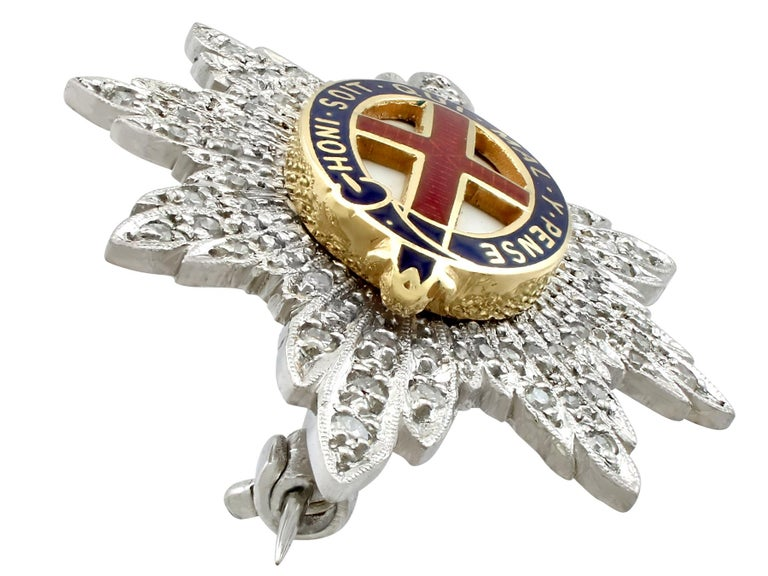 Round Cut 1970s Diamond and White Gold 'Coldstream Guards' Sweetheart Brooch  For Sale