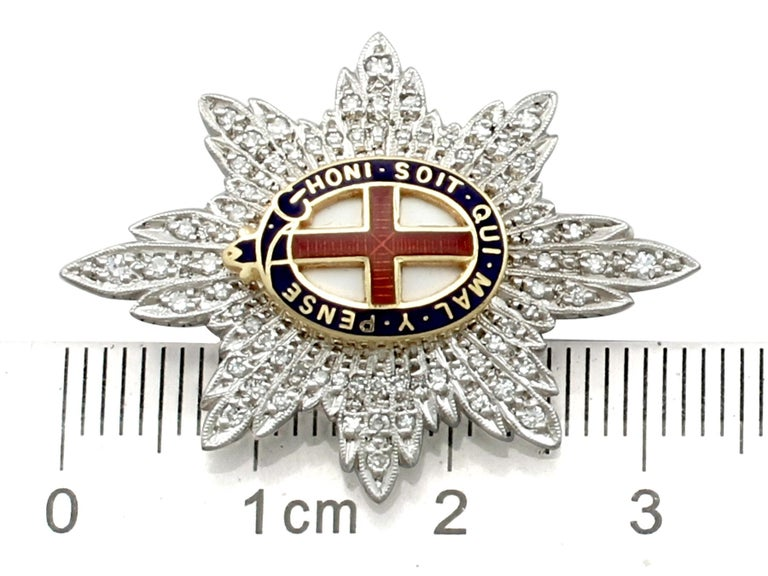1970s Diamond and White Gold 'Coldstream Guards' Sweetheart Brooch  For Sale 2