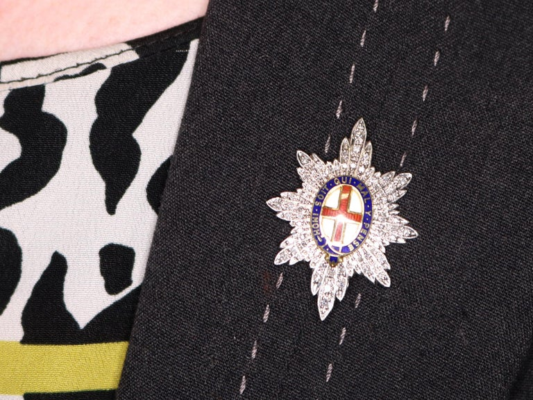 1970s Diamond and White Gold 'Coldstream Guards' Sweetheart Brooch  For Sale 4
