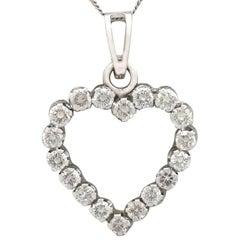 1970s Diamond and White Gold Heart Pendant