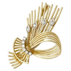 1970s Diamond and Yellow Gold Spray Brooch