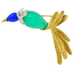 1970s Diamond Blue Agate Chrysoprase Platinum 18 Karat Gold Bird Brooch